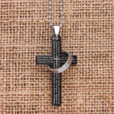 AC021 Кулон - амулет Крест с кольцом 45х30мм, цвет черный