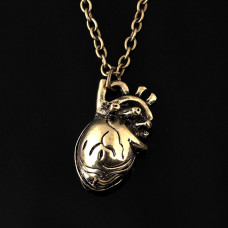 AC025 Кулон с цепочкой Сердце 26х14мм, цвет бронз.