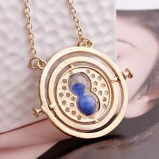 AC028 Кулон Песочные часы с цепочкой вращающийся 4см, цвет золот.