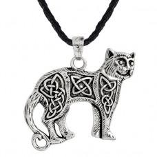 AC044 Кулон - амулет Кельтская кошка со шнурком 39х30мм