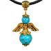 """AH001-G Талисман """"Ангел-хранитель"""" с натуральным камнем бирюза 3,5см"""