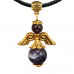 """AH002-G Талисман """"Ангел-хранитель"""" с натуральным камнем аметист 3,5см"""