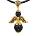 """AH009-G Талисман """"Ангел-хранитель"""" с натуральным камнем синий авантюрин 3,5см"""