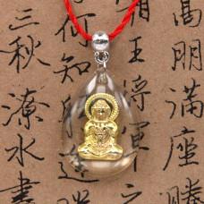 AK001-2 Буддийский амулет Будда, прозрачный пластик, металл