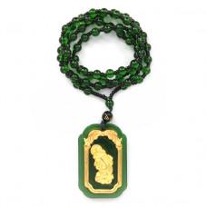AK005-07 Амулет с бусами Пи Яо, стекло, зелёный