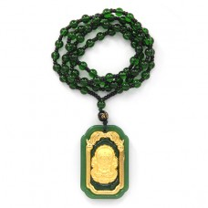 AK005-08 Амулет с бусами Будда, стекло, зелёный