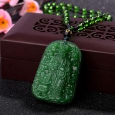 AK007-1 Амулет с бусами Бог Богатства, стекло, зелёный