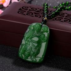 AK007-6 Амулет с бусами Бог войны Гуань Гун, стекло, зелёный