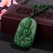 AK007-7 Амулет с бусами Будда, стекло, зелёный