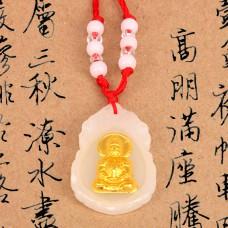 AK009-2 Буддийский амулет Будда, стекло, белый