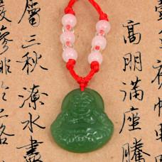 AK010-1 Буддийский амулет Хотей, стекло, зелёный