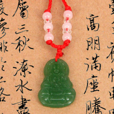AK011-1 Буддийский амулет Будда, стекло, зелёный