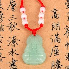 AK011-2 Буддийский амулет Будда, стекло, светло-зелёный