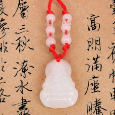 AK011-3 Буддийский амулет Будда, стекло, белый