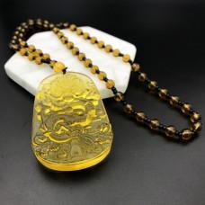 AK013-02 Амулет с чётками Дракон, стекло, цвет жёлтый