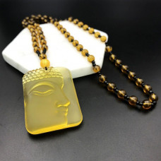 AK013-03 Амулет с бусами Будда, стекло, цвет жёлтый