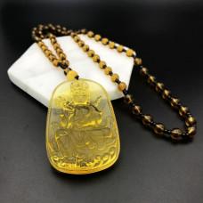 AK013-08 Амулет с чётками Будда, стекло, цвет жёлтый