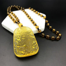AK013-11 Амулет с чётками Бог богатства, стекло, цвет жёлтый