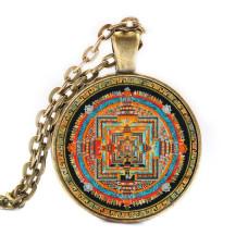 ALK004 Бронзовый кулон - амулет с цепочкой Тибетская мандала