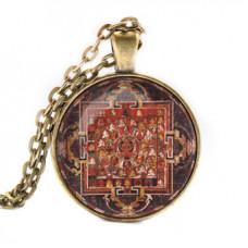 ALK030 Кулон с цепочкой Праджняпарамита мандала, цвет бронз.