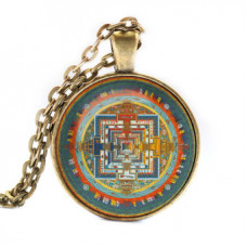ALK033 Кулон с цепочкой Калачакра мандала, цвет бронз.