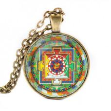 ALK035 Кулон с цепочкой Херука мандала, цвет бронз.