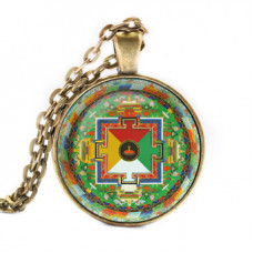 ALK038 Кулон с цепочкой Ямантака мандала, цвет бронз.