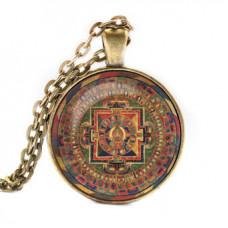 ALK040 Кулон с цепочкой Авалокитешвара мандала, цвет бронз.