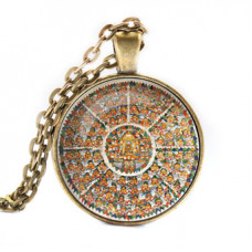 ALK044 Кулон с цепочкой Шамбала мандала, цвет бронз.