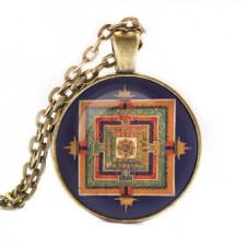 ALK045 Кулон с цепочкой Будда медицины мандала, цвет бронз.