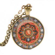 ALK053 Кулон с цепочкой Ом мандала, цвет бронз.