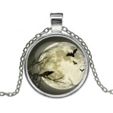 ALK138 Кулон с цепочкой Ворон и летучие мыши