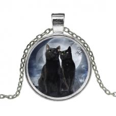ALK145 Кулон с цепочкой Чёрные коты