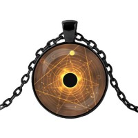 ALK404 Чёрный кулон с цепочкой Затмение