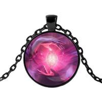 ALK406 Чёрный кулон с цепочкой Магический кристалл