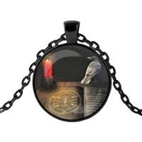 ALK408 Чёрный кулон с цепочкой Ворон и магическая книга
