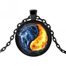 ALK413 Чёрный кулон с цепочкой Огонь и вода