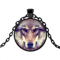 ALK418 Чёрный кулон с цепочкой Волк