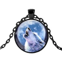 ALK423 Чёрный кулон с цепочкой Волк и луна
