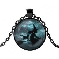 ALK426 Чёрный кулон с цепочкой Ведьма с котом на метле