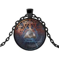 ALK432 Чёрный кулон с цепочкой Всевидящее око