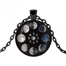 ALK437 Чёрный кулон с цепочкой Фазы Луны