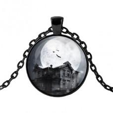 ALK439 Чёрный кулон с цепочкой Дом с привидениями