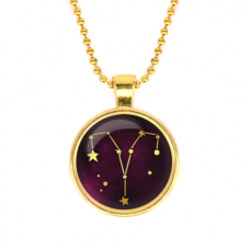 ALK501 Кулон с цепочкой Знаки Зодиака - Овен, цвет золот.