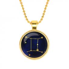 ALK503 Кулон с цепочкой Знаки Зодиака - Близнецы, цвет золот.