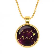 ALK511 Кулон с цепочкой Знаки Зодиака - Водолей, цвет золот.