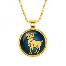 ALK513 Кулон с цепочкой Знаки Зодиака - Овен, цвет золот.