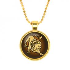 ALK517 Кулон с цепочкой Знаки Зодиака - Лев, цвет золот.