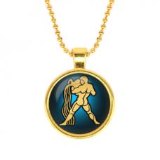 ALK523 Кулон с цепочкой Знаки Зодиака - Водолей, цвет золот.
