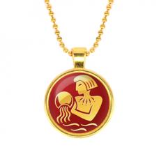 ALK535 Кулон с цепочкой Знаки Зодиака - Водолей, цвет золот.